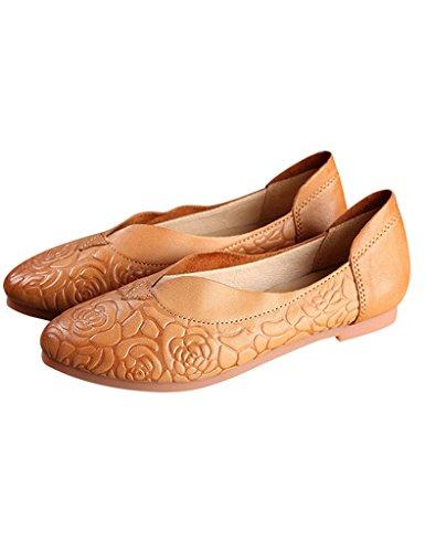 Youlee Mujeres Verano Primavera Flor Cuero Zapatos bajos