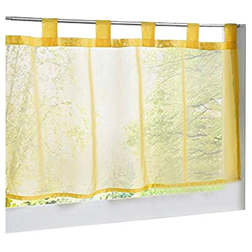 (86 York Solid Yellow Sheer Voile Roman Shade Window Curtain Drapery Valancer Bedroom 1 Panel 18