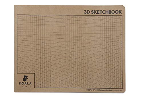 Koala Tools   2-Point Drawing Perspective Notebook (1 Unit)   10.35 x 8, 60 pp. - Perspective Grid Graph Paper for Interior Design, Industrial, Architectural and 3D Design