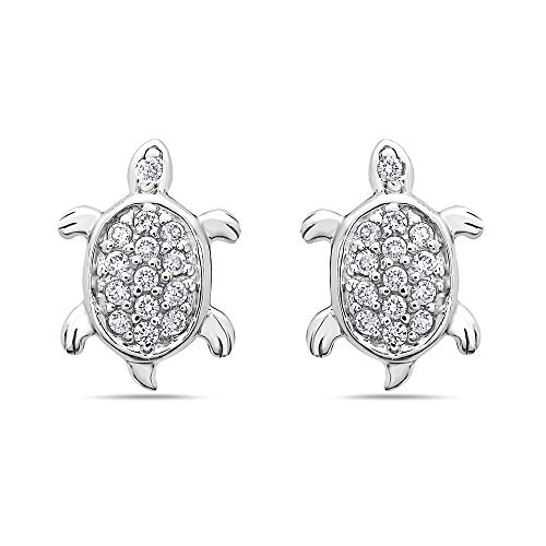 925 Solid Sterling Silver CZ Turtle Stud Minimalist First Earrings – Girls,Kids and Women Jewelry