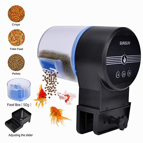 Iseebiz Automatic Tank Feeder Koi Goldfish Feeder Aquariums Moisture-Proof Intelligent Timing Feeding Machine, 2 Fish Food Dispenser. from Iseebiz