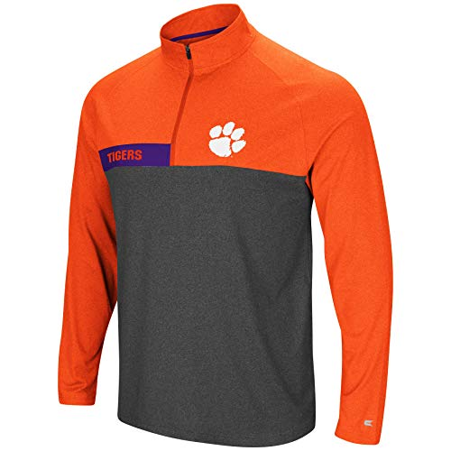 Colosseum Men's NCAA-No Mercy-1/4 Zip Pullover Windshirt-Clemson Tigers-Heather Orange-Large