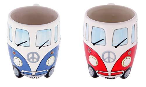 Volkswagen - Blue & Red Ceramic Shaped Coffee Mug / Cup Set (VW Camper Van / Bully / T1)