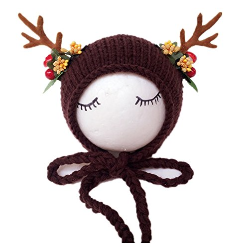 Fashion Newborn Boy Girl Baby Costume Knitted Photography Props Christmas Deer Hat (Coffee)