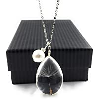 Popular High Quality Dandelion Wish Pendant Necklace with Swarovski Crystal Pearl Charm on 18