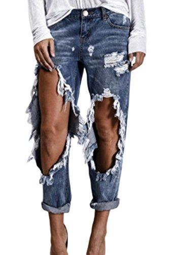 Jeans Dchir Femmes XXL Denim Pantalon Les Coup des Retrousser lgant en Blue Stretch Dazosue THtq6UwY