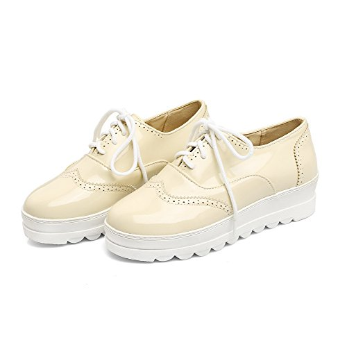 Odomolor Women's Closed-Toe Low-Heels PU Solid Lace-up Pumps-Shoes, Beige, 35
