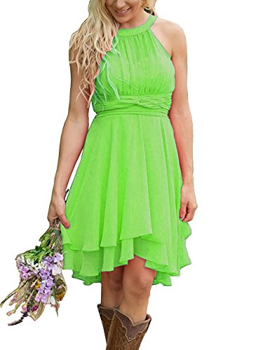 XingMeng Short A Line Halter Chiffon Prom Homecoming Bridesmaid Dresses Lime Green US 2