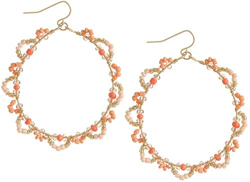 (Bay Studio Gold Tone Beaded Floral Hoop Earrings One Size Coral pink/gold tone)