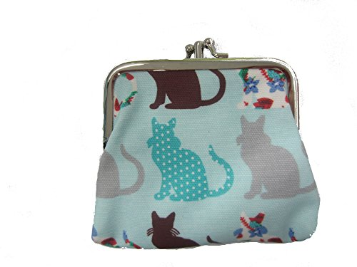 Miss Lulu Designer Oil Cloth Clasp Coin Purse (Cat Blue) from Miss Lulu
