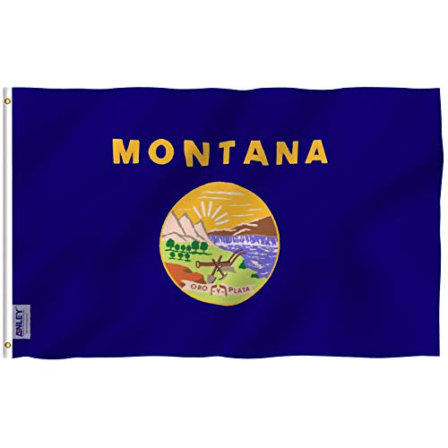 Montana State Seal - Anley Fly Breeze 3x5 Foot Montana State Flag - Vivid Color and UV Fade Resistant - Canvas Header and Double Stitched - Montanan MT Flags Polyester with Brass Grommets 3 X 5 Ft