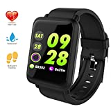 Fitness Tracker,Bluetooth Heart Rate Monitor Blood Pressure Watch,Waterproof Pedometer Large Color Screen Activity