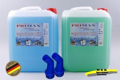 2 x 10 Ltr. Primax Flüssigwaschmittel grün + Meeresbrise blau + 1 Ausgiesser gratis