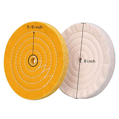 8 inch Buffing polishing Wheels For Bench Grinder Buffer With 5//8 Arbor Hole White 60 ply Yellow 40 ply 3pcs