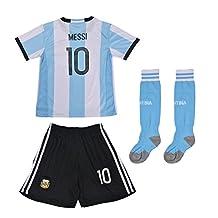 FWC 2014 Argentina Home Messi 10 Futbol Football Soccer Kids Jersey & Short