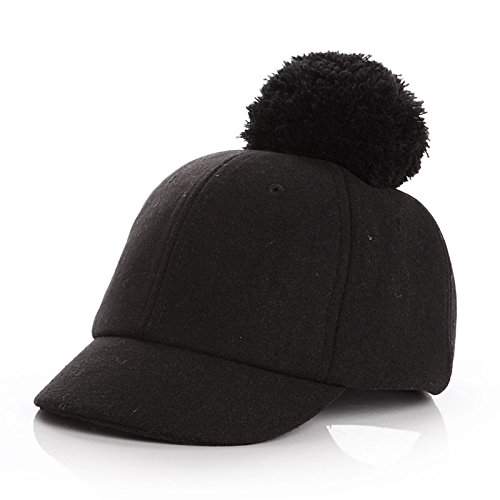 fd0968414d6 Amazon.com  PyLios(TM) New Wool Kids Winter Hats for Girls Boy Cap  Adjustable Baby Hat with Pompom Warm Caps Children Accessories for 2-5  Years   Black    ...