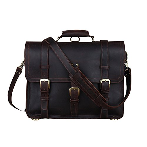 Full Grain Leather Convertible Briefcase Large Backpack Handbag Messenger Shoulder Bag