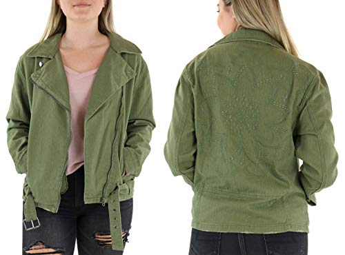 (Miss Me MJ0020L Olive Green Floral Embroidered Eyelet Moto Jacket (Large))