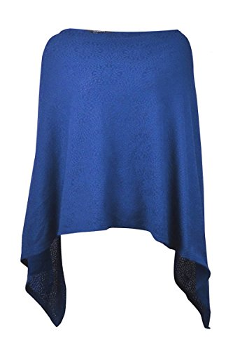 Alfani Womens Knit Boat Neck Poncho Top Blue S/M by Alfani