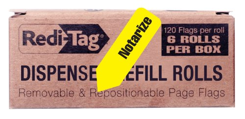 Redi-Tag Notarize Printed Arrow Flags, 6 Roll Refill, 120 Flags per Roll, 1-7/8 x 9/16 Inches, Yellow (91043)