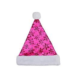 Pink Sequin Snowflake Santa Hat