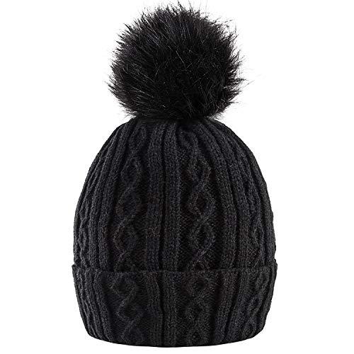 AXYOFSP Women Winter Pom Pom Beanie Hat with Warm Fleece Lined, Thick Slouchy Snow Knit Skull Ski Cap