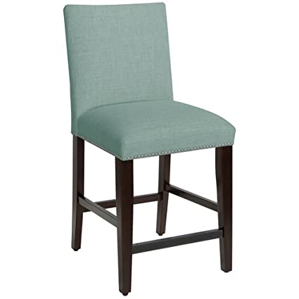 Amazoncom Barstool Seaglass Blue Linen Nail Button Upholstered
