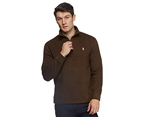 Polo Ralph Lauren Mens Half Zip French Rib Cotton Sweater (Brown Mu, XL) - Half Zip Winter Sweater
