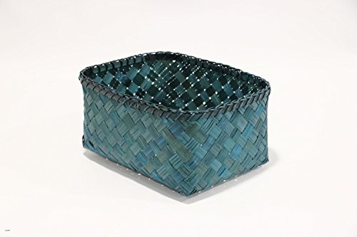 Peacock Basket - Compactor Home Storage Basket, Bamboo, Peacock Blue, 30 x 23 x 15 cm
