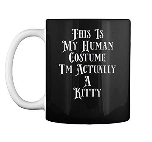 Im actually a kitty kitten cat Funny Halloween Costume Meme Mug Coffee Mug (White, 11 oz)