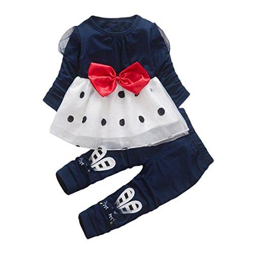 Bowknot Rabbit (HOT ! YANG-YI Cute Toddler Baby Girl Outfits Bowknot Long Sleeve Dot Princess Dress+Rabbit Pants Set (100cm/2T, Navy))