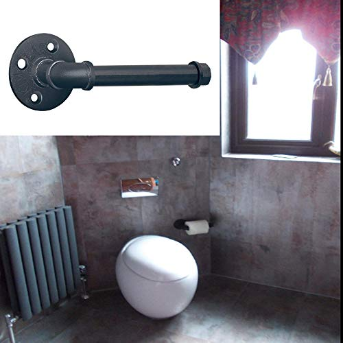 Sunmall Toilet Paper Holder,Heavy Duty Industrial Iron Pipe Roll Tissue Holder Towel Racks with Hardware for Bathroom, Bedroom, Kitchen ,Modern Electroplated Finish Black