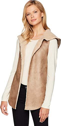 (Dylan by True Grit Women's Soft Shearling Reversible Hood Vest Khaki/Natural Medium)