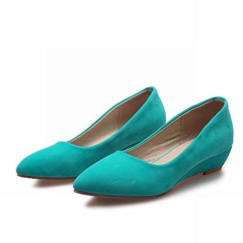 Carolbar Femmes Bout Pointu Manchette Mode Slip-on Mocassins Occasionnels Chaussures Bleu-vert