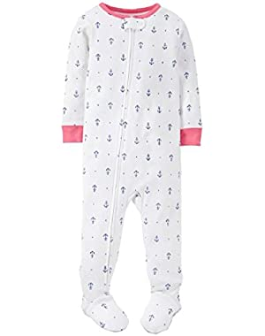Little Girls 1-Piece Pajamas Footed Snug Fit Cotton PJs Toddler