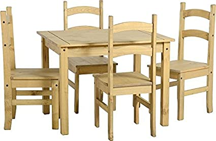 Corona style Mexican antique distressed pine dining set with 4 Mexican  chairs by CENTURION PINE 07779 - Amazon.com: Corona Style Mexican Antique Distressed Pine Dining Set