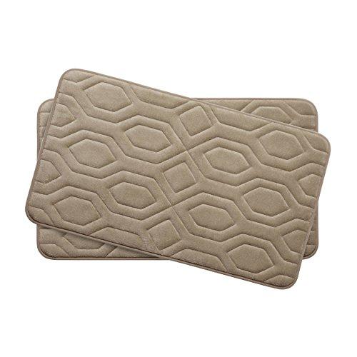 Bounce Comfort Extra Thick Memory Foam Bath Mat Set - Turtle Shell Premium Plush 2 Piece Set with BounceComfort Technology, 17 x 24 in. Linen -  Bath Studio, YMB003752
