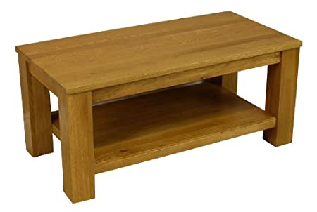 Solid Oakland Chunky Oak Coffee Table Storage with Shelf Living