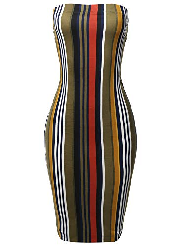 Made by Emma Sexy Comfortable Tube Top Bodycon Vertical Stri