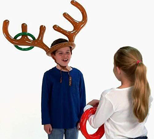 Aufblasbares Rentiergeweih-Spiel 2 aufblasbare Geweih, 12 Ringe Rentier Ringwurf Familie Weihnachten Party Spiele Aufblasbarer Rentiergeweih Hut mit Ringen