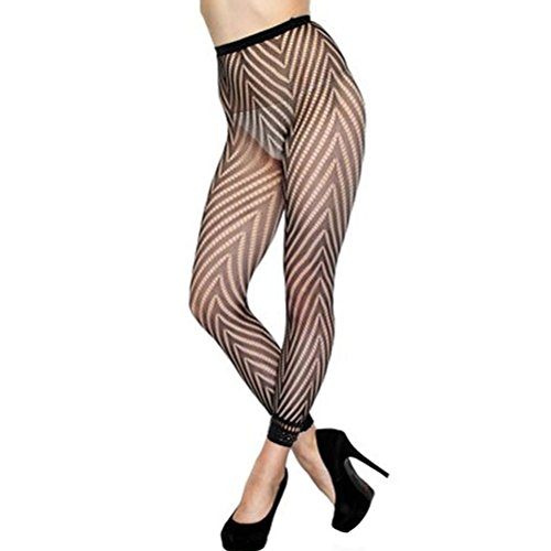 DH-MS Dress Sexy Hosiery Fashion Fishnet Footless Tights W Chevron Panthose (Abba Fancy Dress Outfits)