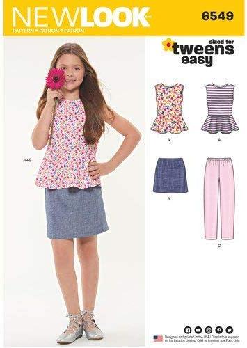 New Look 6549 - Patrones de costura para camiseta, falda y ...