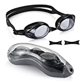 Aegend Swim Goggles, Swimming Goggles of Flat Lenses for Men Women Adult Youth Kids Children, Anti-Fog UV Protection Leak-Proof Triathlon Swim Goggles with Free Protection Case