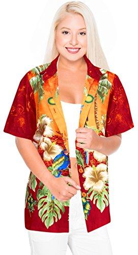 Tropical Wear Resort (La Leela Likre Camp Casual Aloha Supersoft Shirt Orange 298|L - US 38-40D)