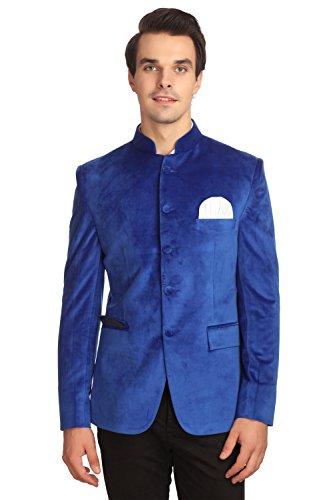 WINTAGE Men's Velvet Grandad Nehru Blazer Coat Jacket:Blue, (Satin Velvet Blazer)