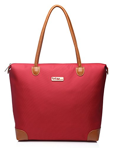 NNEE Water Resistance Nylon Tote Bag & Multiple Pocket Design - Red