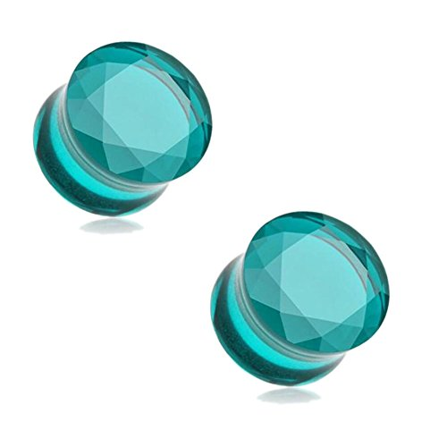 Aqua Glass Faceted Diamond Cut Double Flare Tunnel Plugs (16mm(5/8'')) (Cut Faceted Glass)