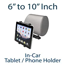 "Universal Car Headrest Mount with 360 Degree Rotation for all iPads, iPad Mini and other 6"" to 10"" tablets (Black)"
