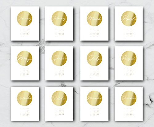 2018 Desktop Circle Calendar, Minimal Art, 2018 Calendar, Real Gold Foil, Card Stock Paper, Handmade Paper, Modern Calendar, Christmas Gift by Lovely Decor