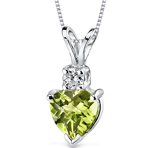 14 Karat White Gold Heart Shape 1.00 Carats Peridot Diamond Pendant